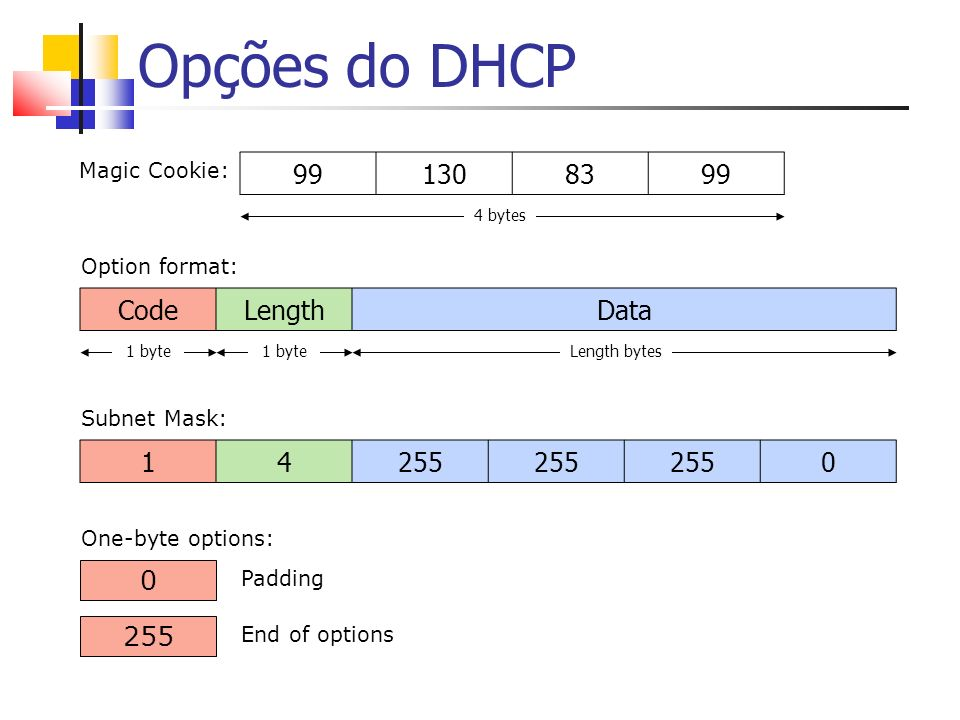 Opções do DHCP 255 End of options CodeLengthData 1 byte Length bytes 0 Padding 14255 0 Subnet Mask: 991308399 Magic Cookie: Option format: One-byte options: 4 bytes