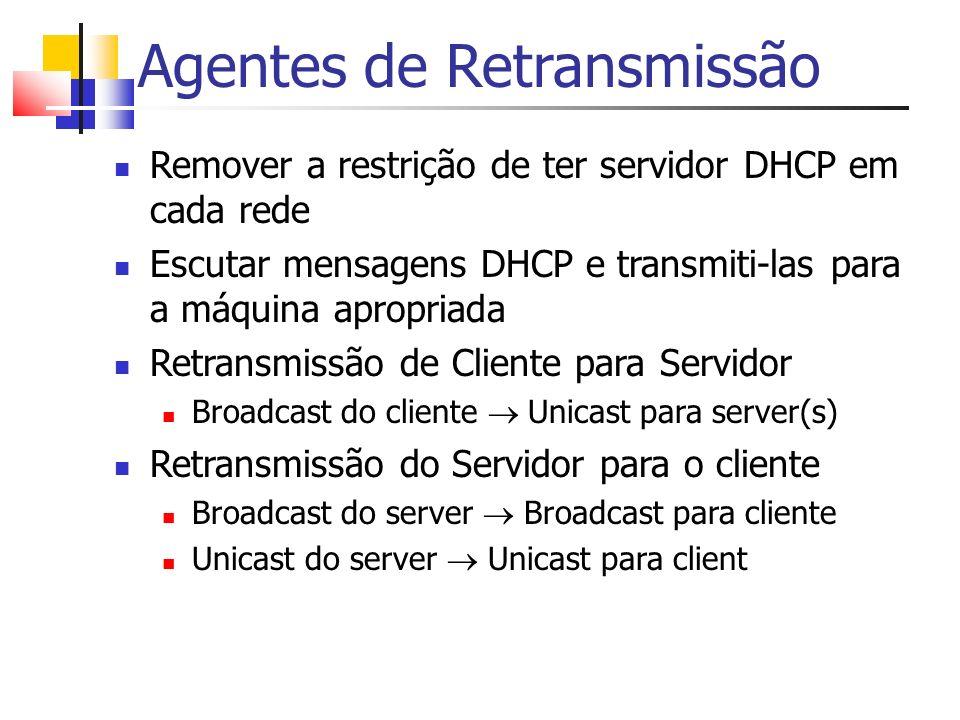 Agentes de Retransmissão Remover a restrição de ter servidor DHCP em cada rede Escutar mensagens DHCP e transmiti-las para a máquina apropriada Retran