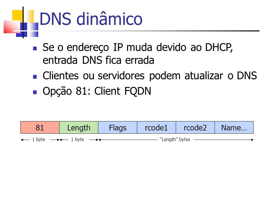 DNS dinâmico Se o endereço IP muda devido ao DHCP, entrada DNS fica errada Clientes ou servidores podem atualizar o DNS Opção 81: Client FQDN 81Length