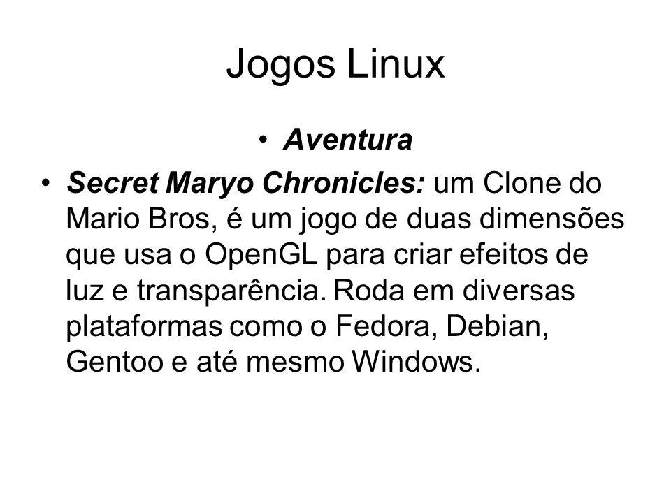 Jogos Linux Aventura Secret Maryo Chronicles: um Clone do Mario Bros, é um jogo de duas dimensões que usa o OpenGL para criar efeitos de luz e transparência.