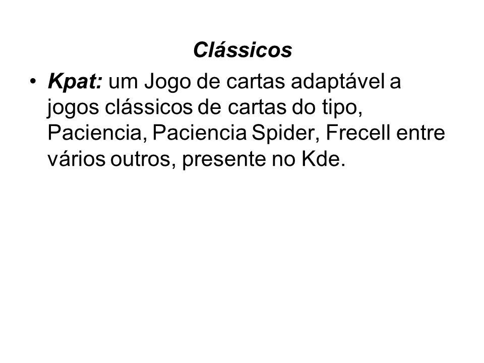 Clássicos Kpat: um Jogo de cartas adaptável a jogos clássicos de cartas do tipo, Paciencia, Paciencia Spider, Frecell entre vários outros, presente no Kde.
