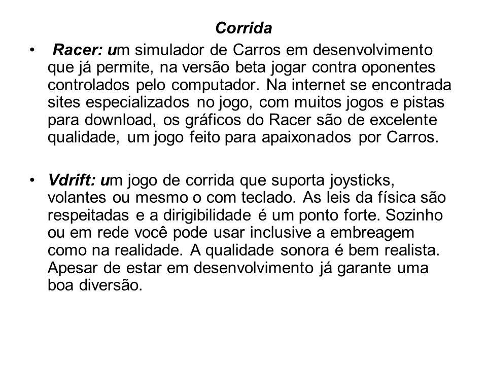 Corrida Racer: um simulador de Carros em desenvolvimento que já permite, na versão beta jogar contra oponentes controlados pelo computador.