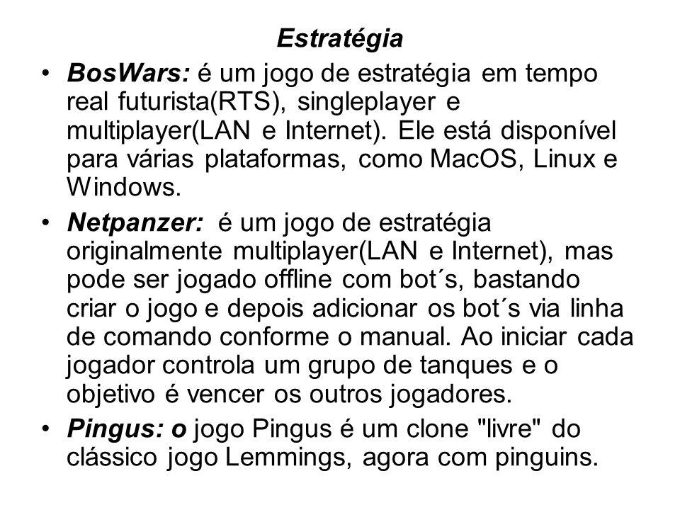Estratégia BosWars: é um jogo de estratégia em tempo real futurista(RTS), singleplayer e multiplayer(LAN e Internet).