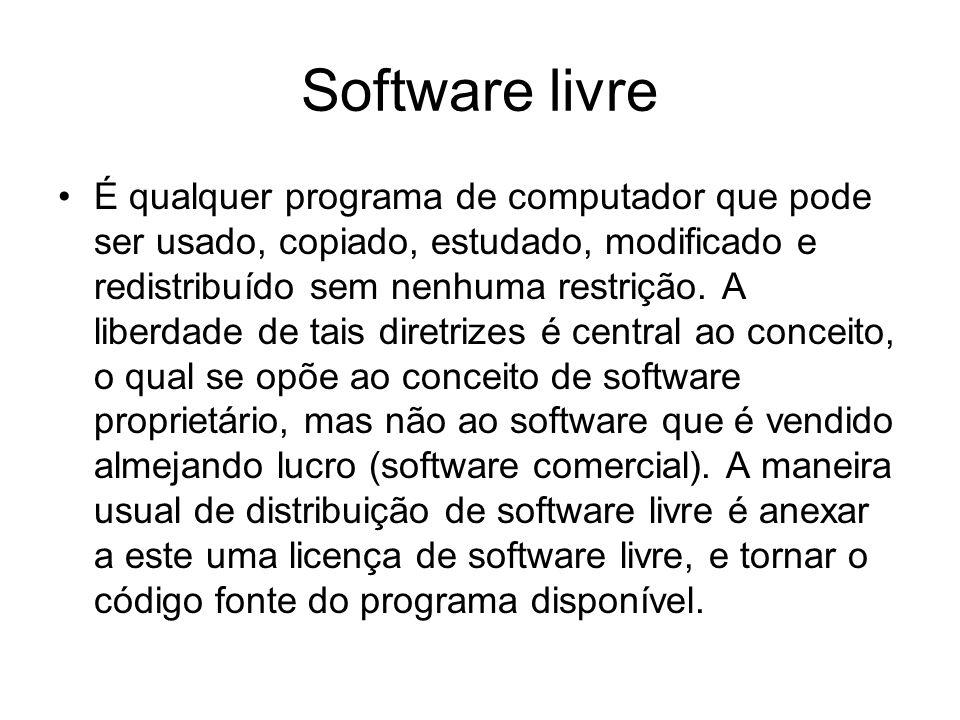 Software livre É qualquer programa de computador que pode ser usado, copiado, estudado, modificado e redistribuído sem nenhuma restrição.
