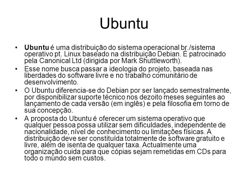 Ubuntu Ubuntu é uma distribuição do sistema operacional br./sistema operativo pt.