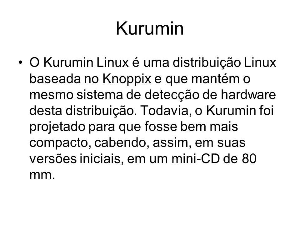 Kurumin O Kurumin Linux é uma distribuição Linux baseada no Knoppix e que mantém o mesmo sistema de detecção de hardware desta distribuição.