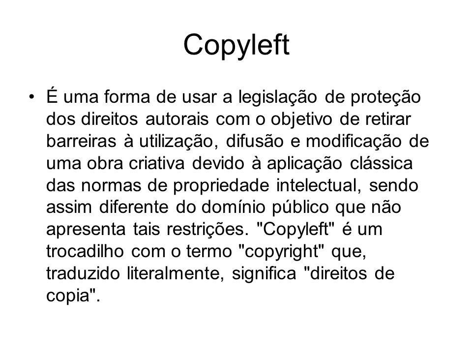 Copyleft É uma forma de usar a legislação de proteção dos direitos autorais com o objetivo de retirar barreiras à utilização, difusão e modificação de uma obra criativa devido à aplicação clássica das normas de propriedade intelectual, sendo assim diferente do domínio público que não apresenta tais restrições.