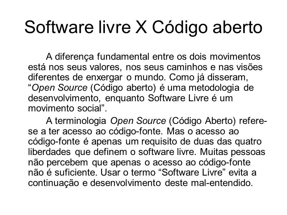 Software livre X Código aberto A diferença fundamental entre os dois movimentos está nos seus valores, nos seus caminhos e nas visões diferentes de enxergar o mundo.