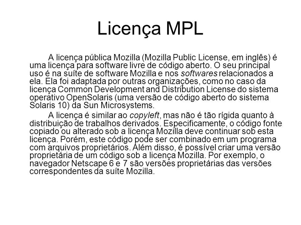 Licença MPL A licença pública Mozilla (Mozilla Public License, em inglês) é uma licença para software livre de código aberto.