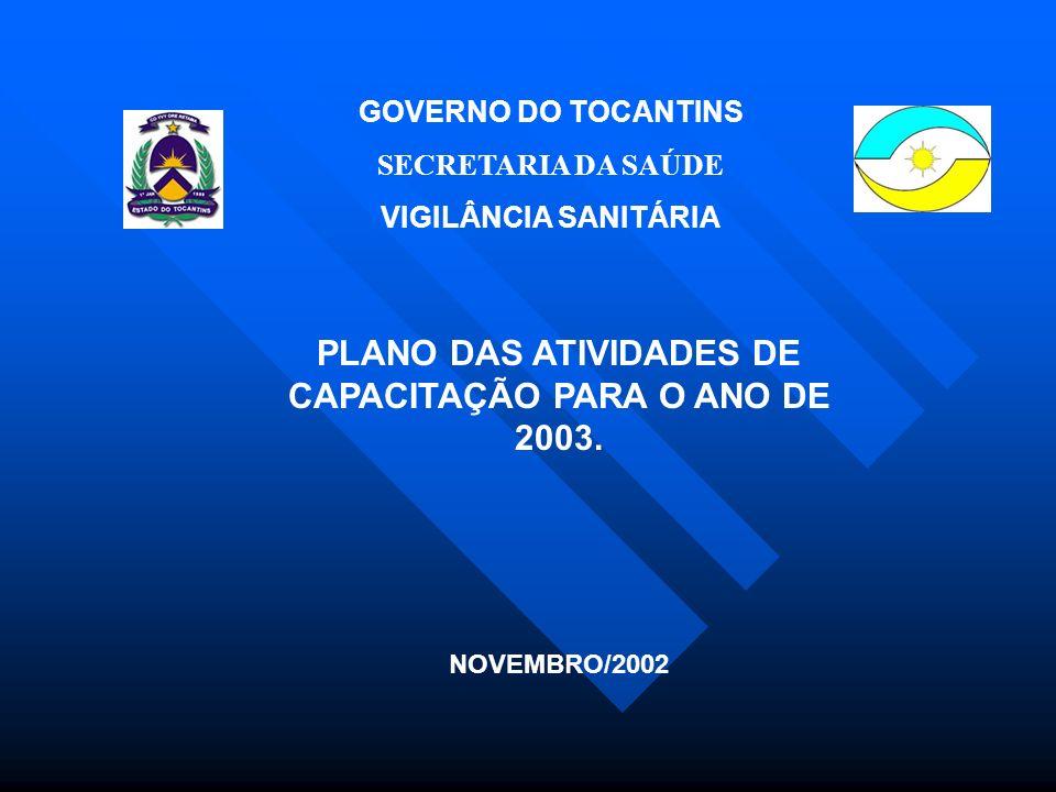 GOVERNO DO TOCANTINS SECRETARIA DA SAÚDE VIGILÂNCIA SANITÁRIA PLANO DAS ATIVIDADES DE CAPACITAÇÃO PARA O ANO DE 2003.
