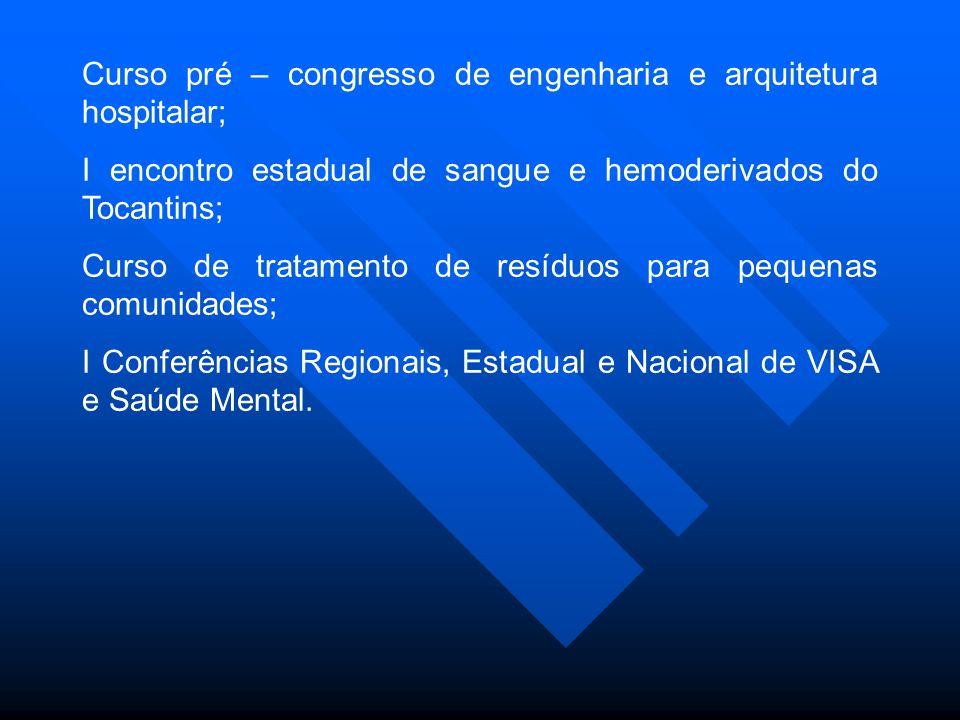 Curso pré – congresso de engenharia e arquitetura hospitalar; I encontro estadual de sangue e hemoderivados do Tocantins; Curso de tratamento de resíduos para pequenas comunidades; I Conferências Regionais, Estadual e Nacional de VISA e Saúde Mental.