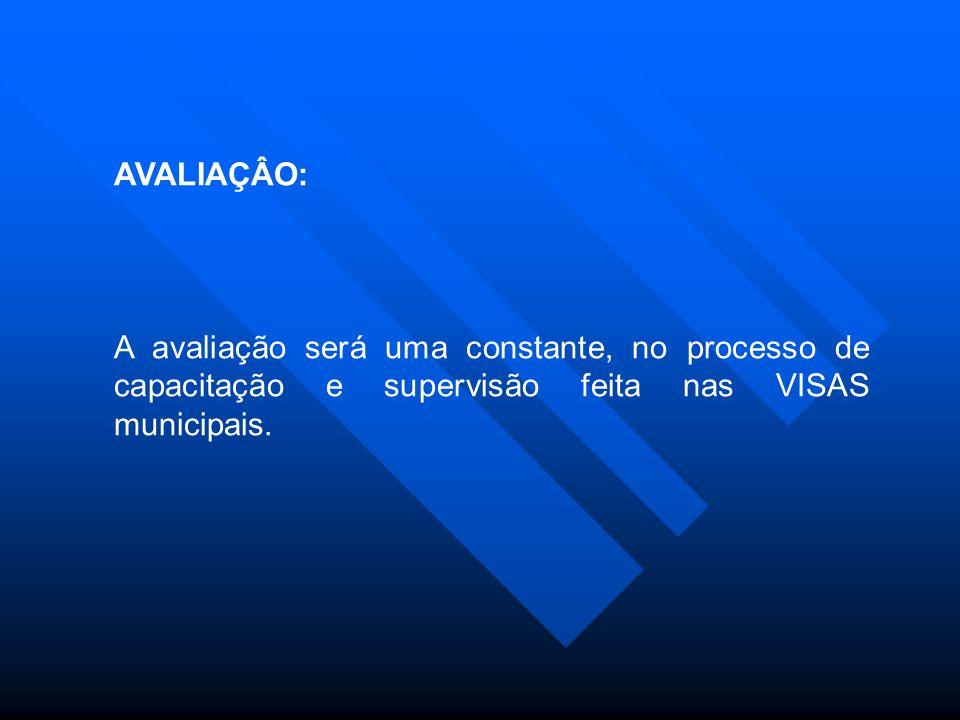 AVALIAÇÂO: A avaliação será uma constante, no processo de capacitação e supervisão feita nas VISAS municipais.