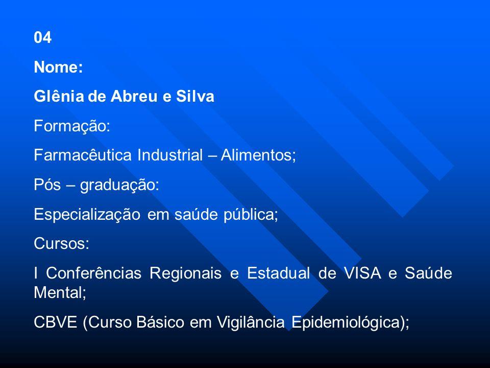 32 Nome: Zildete Divina Pereira Souza Formação: Nível Superior Incompleto - Ciências Biológicas Pós - graduação: Cursos: