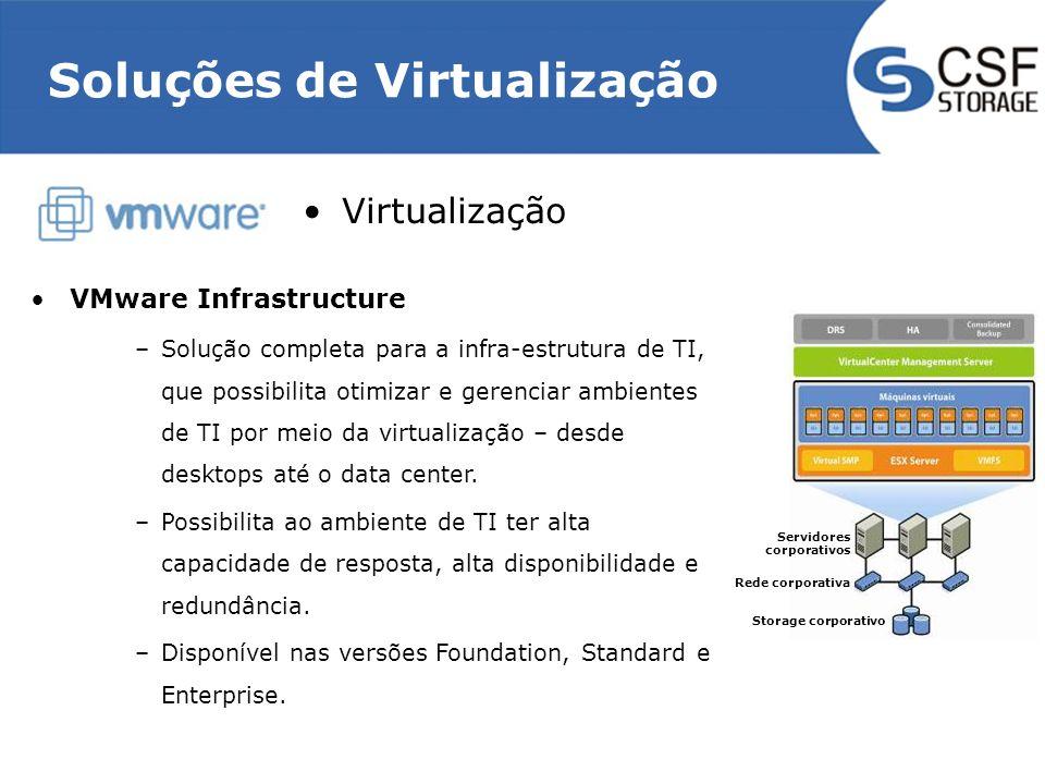 Virtualização VMware Infrastructure –Solução completa para a infra-estrutura de TI, que possibilita otimizar e gerenciar ambientes de TI por meio da v
