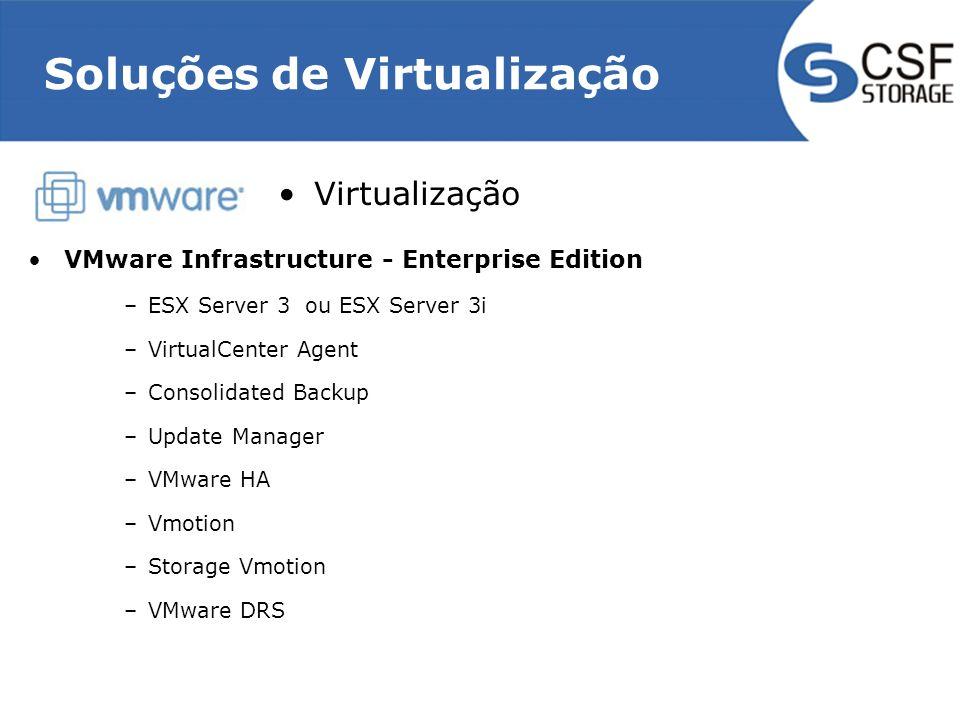 Soluções de Virtualização Virtualização VMware Infrastructure - Enterprise Edition –ESX Server 3 ou ESX Server 3i –VirtualCenter Agent –Consolidated Backup –Update Manager –VMware HA –Vmotion –Storage Vmotion –VMware DRS
