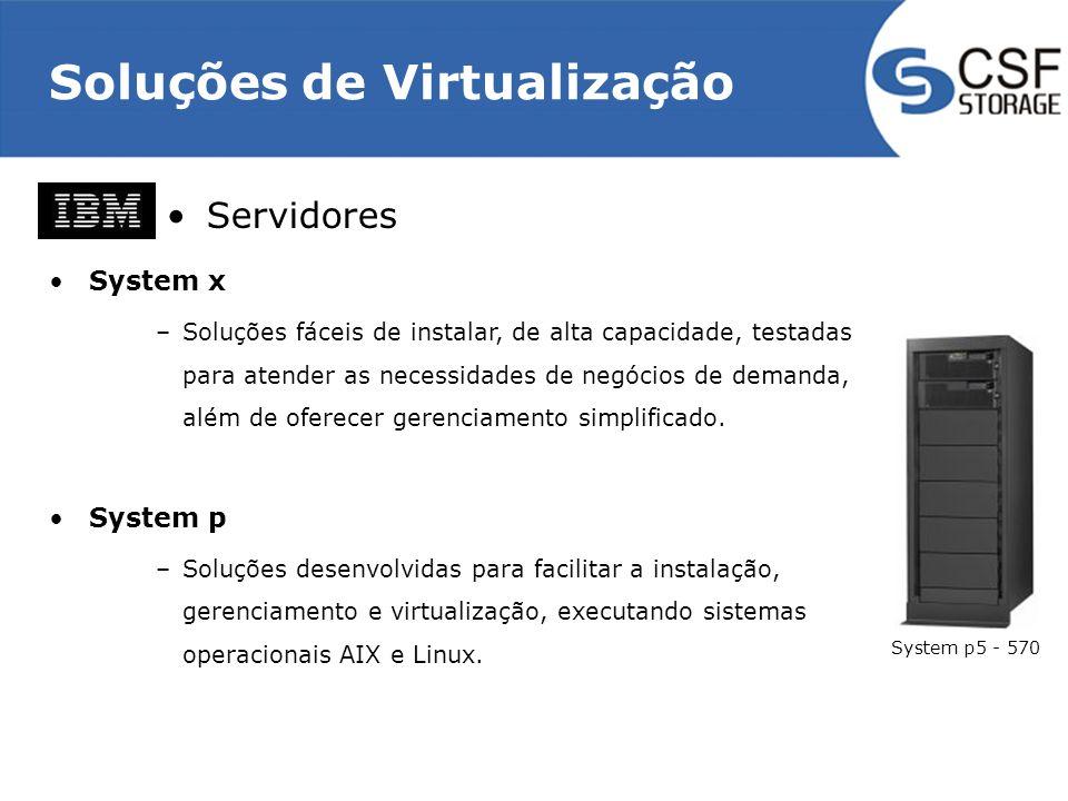 Soluções de Virtualização Servidores System x –Soluções fáceis de instalar, de alta capacidade, testadas para atender as necessidades de negócios de demanda, além de oferecer gerenciamento simplificado.