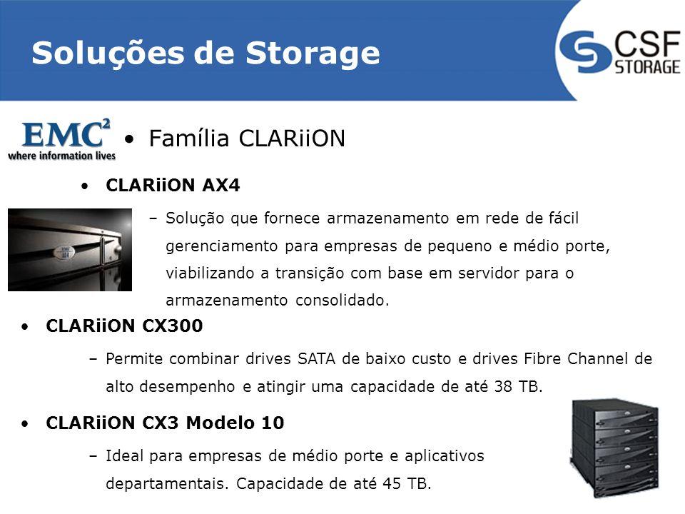 Soluções de Storage Família CLARiiON CLARiiON AX4 –Solução que fornece armazenamento em rede de fácil gerenciamento para empresas de pequeno e médio p