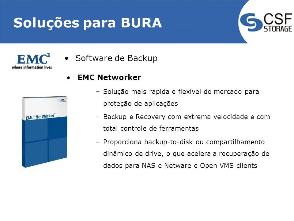 Soluções para BURA EMC Networker –Solução mais rápida e flexível do mercado para proteção de aplicações –Backup e Recovery com extrema velocidade e com total controle de ferramentas –Proporciona backup-to-disk ou compartilhamento dinâmico de drive, o que acelera a recuperação de dados para NAS e Netware e Open VMS clients Software de Backup