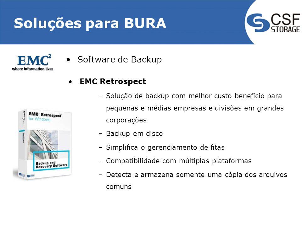 Soluções para BURA EMC Retrospect –Solução de backup com melhor custo benefício para pequenas e médias empresas e divisões em grandes corporações –Backup em disco –Simplifica o gerenciamento de fitas –Compatibilidade com múltiplas plataformas –Detecta e armazena somente uma cópia dos arquivos comuns Software de Backup
