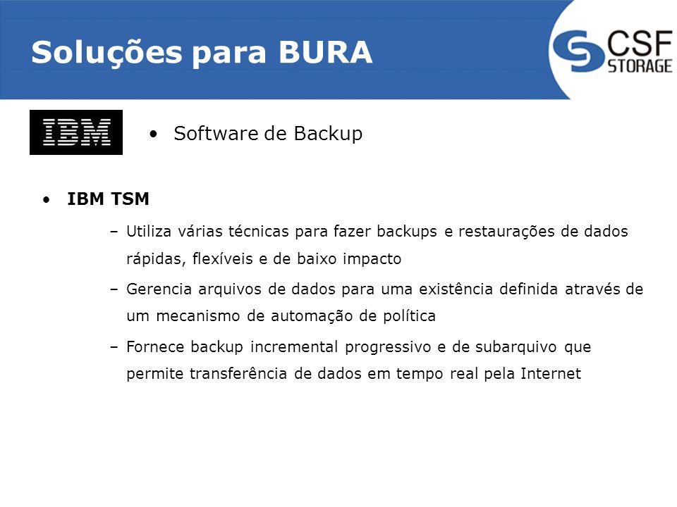Soluções para BURA IBM TSM –Utiliza várias técnicas para fazer backups e restaurações de dados rápidas, flexíveis e de baixo impacto –Gerencia arquivos de dados para uma existência definida através de um mecanismo de automação de política –Fornece backup incremental progressivo e de subarquivo que permite transferência de dados em tempo real pela Internet Software de Backup