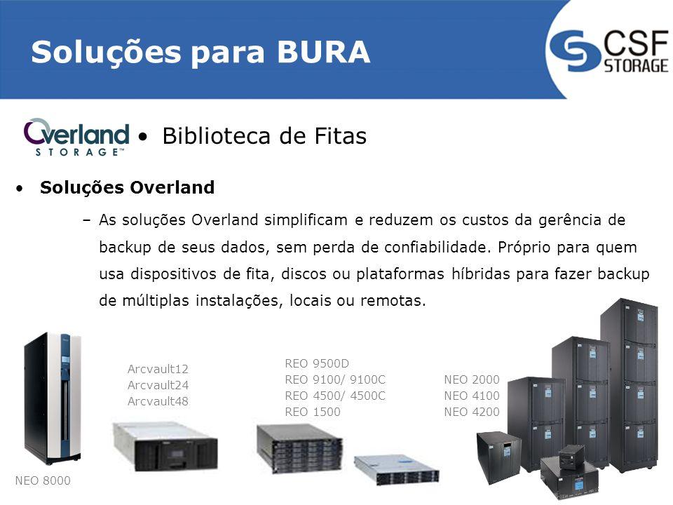 Soluções para BURA Biblioteca de Fitas Soluções Overland –As soluções Overland simplificam e reduzem os custos da gerência de backup de seus dados, sem perda de confiabilidade.