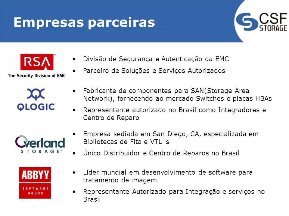 Empresas parceiras Divisão de Segurança e Autenticação da EMC Parceiro de Soluções e Serviços Autorizados Fabricante de componentes para SAN(Storage A