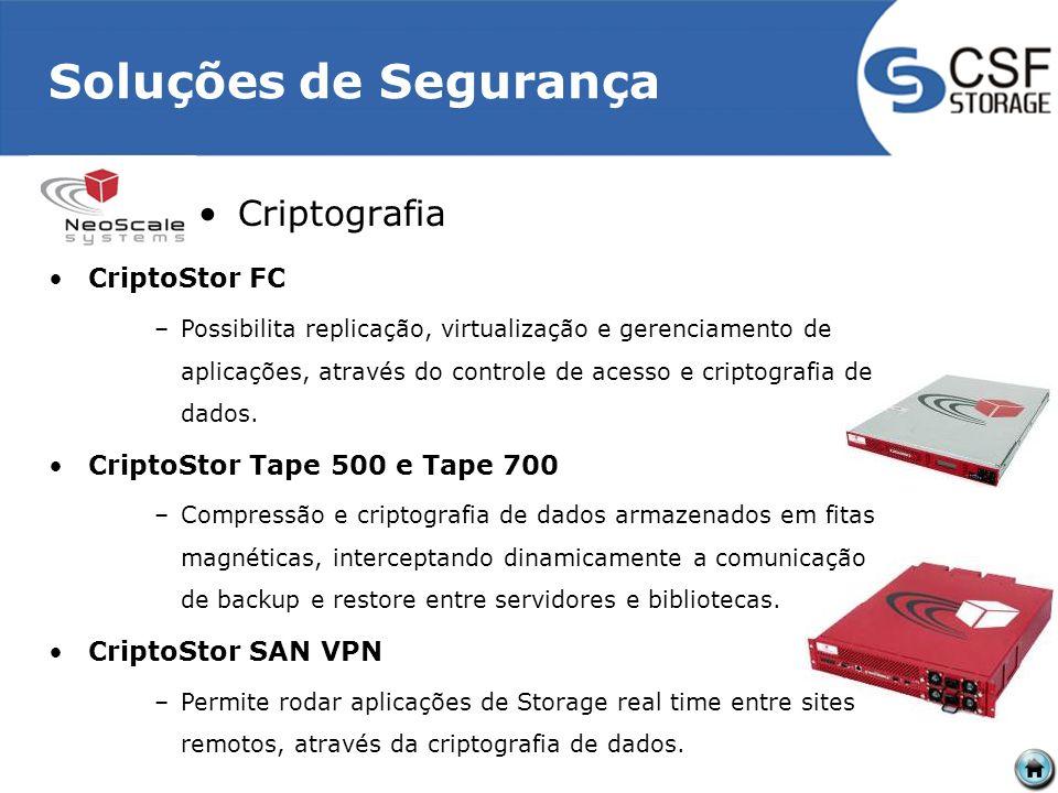 Soluções de Segurança Criptografia CriptoStor FC –Possibilita replicação, virtualização e gerenciamento de aplicações, através do controle de acesso e criptografia de dados.