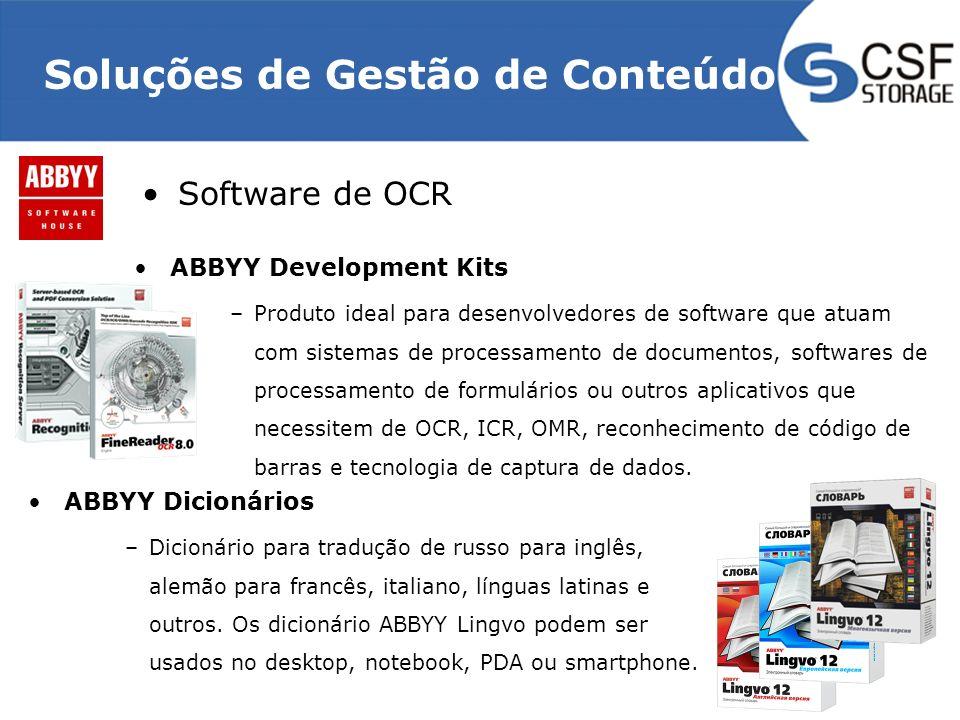 Soluções de Gestão de Conteúdo Software de OCR ABBYY Development Kits –Produto ideal para desenvolvedores de software que atuam com sistemas de processamento de documentos, softwares de processamento de formulários ou outros aplicativos que necessitem de OCR, ICR, OMR, reconhecimento de código de barras e tecnologia de captura de dados.