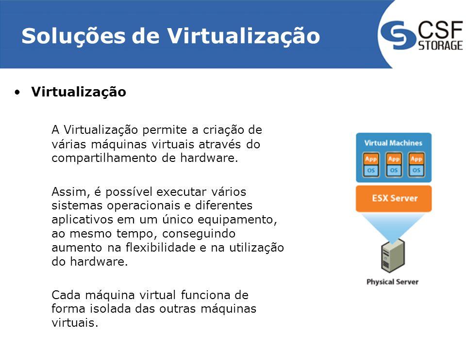 Soluções de Virtualização Características da Virtualização –Separação do Sistema Operacional e Hardware –Encapsulamento do Sistema Operacional e aplicação dentro das VMs –Isolamento –Independência de Hardware –Flexibilidade