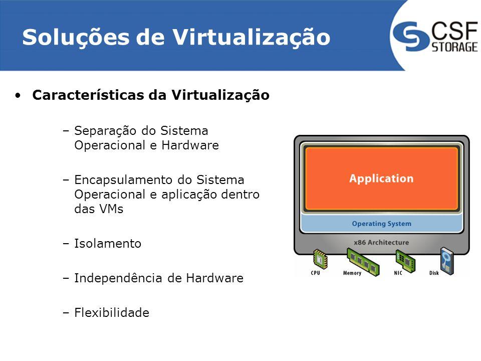 Soluções de Virtualização Características da Virtualização –Separação do Sistema Operacional e Hardware –Encapsulamento do Sistema Operacional e aplic