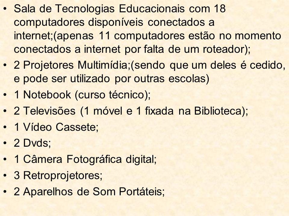 Sala de Tecnologias Educacionais com 18 computadores disponíveis conectados a internet;(apenas 11 computadores estão no momento conectados a internet