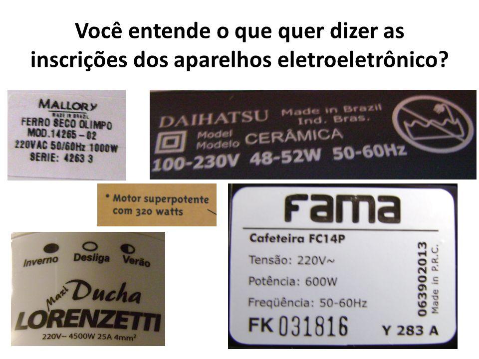 ALGUMAS GRANDEZAS APARELHOPOTÊNCIA (W)VOLTAGEM (V) FREQUÊNCIA (Hz) FERRO DE PASSAR1000 22060 CHAPINHA50 CHUVEIRO4500 LIQUIDIFICADOR600 CAFETEIRA320 NOTEBOOK65