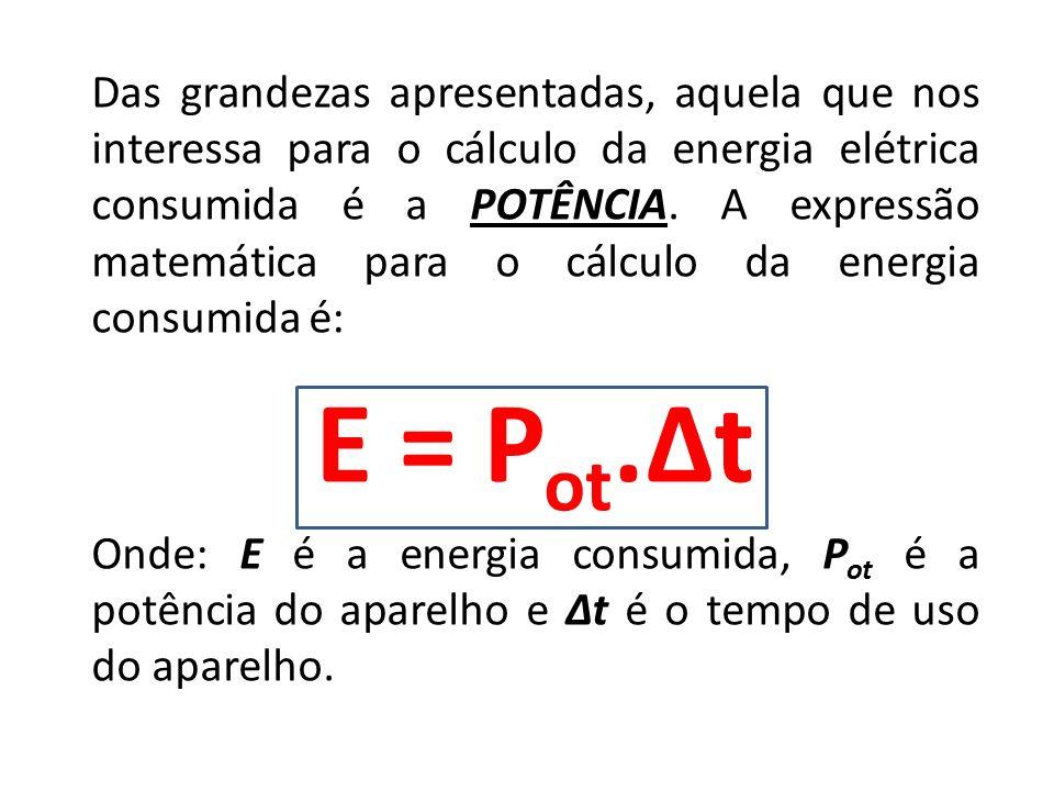 Das grandezas apresentadas, aquela que nos interessa para o cálculo da energia elétrica consumida é a POTÊNCIA. A expressão matemática para o cálculo