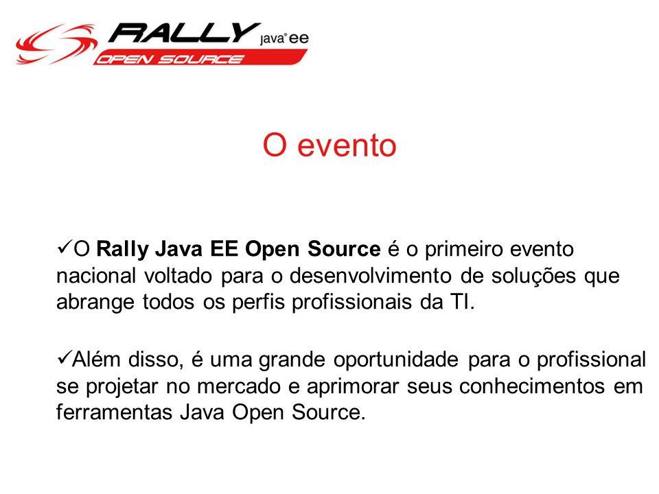 O evento O Rally Java EE Open Source é o primeiro evento nacional voltado para o desenvolvimento de soluções que abrange todos os perfis profissionais