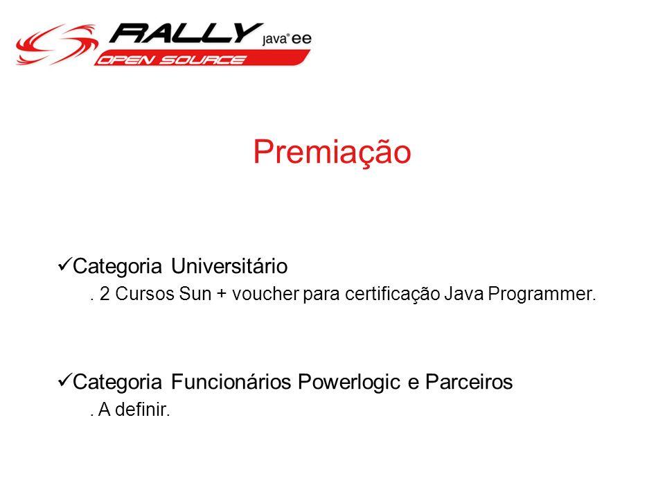 Premiação Categoria Universitário. 2 Cursos Sun + voucher para certificação Java Programmer. Categoria Funcionários Powerlogic e Parceiros. A definir.