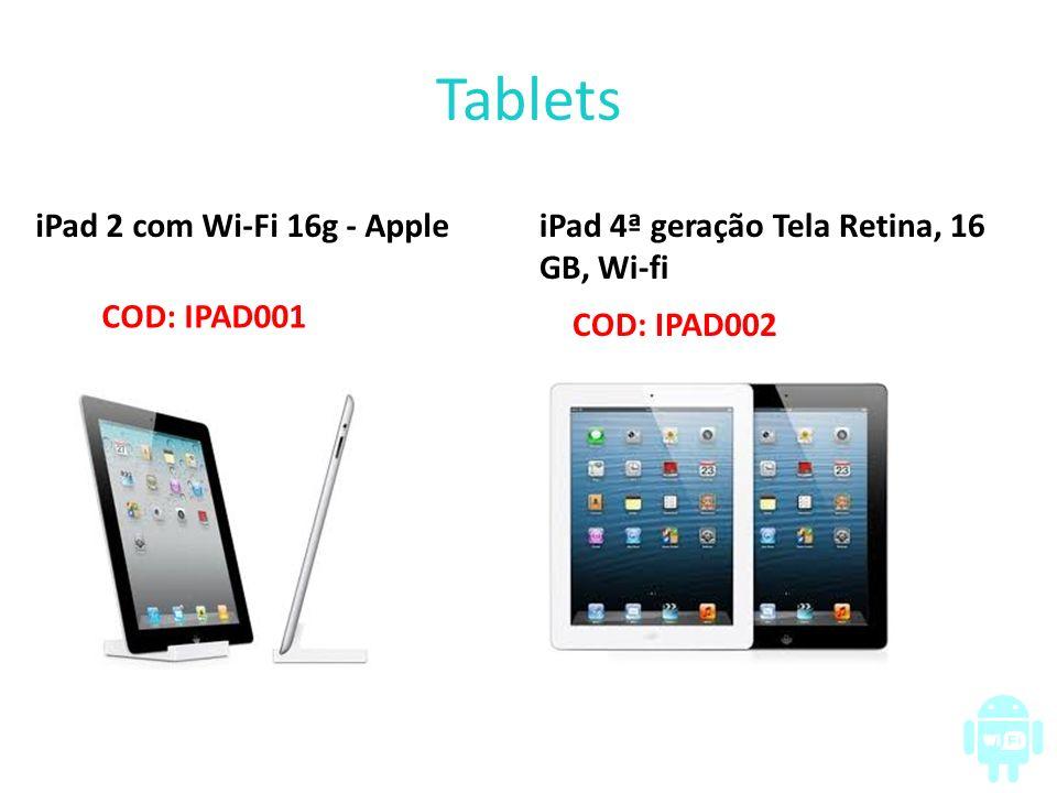 Tablets iPad 2 com Wi-Fi 16g - Apple COD: IPAD001 iPad 4ª geração Tela Retina, 16 GB, Wi-fi COD: IPAD002