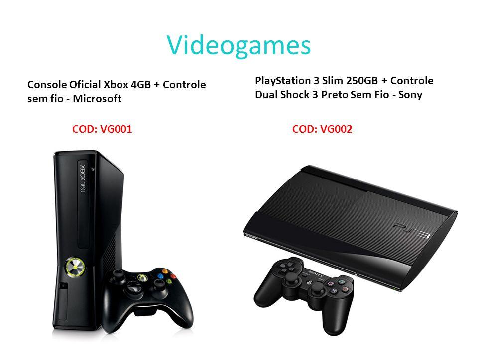 Videogames Console Oficial Xbox 4GB + Controle sem fio - Microsoft COD: VG001 PlayStation 3 Slim 250GB + Controle Dual Shock 3 Preto Sem Fio - Sony CO
