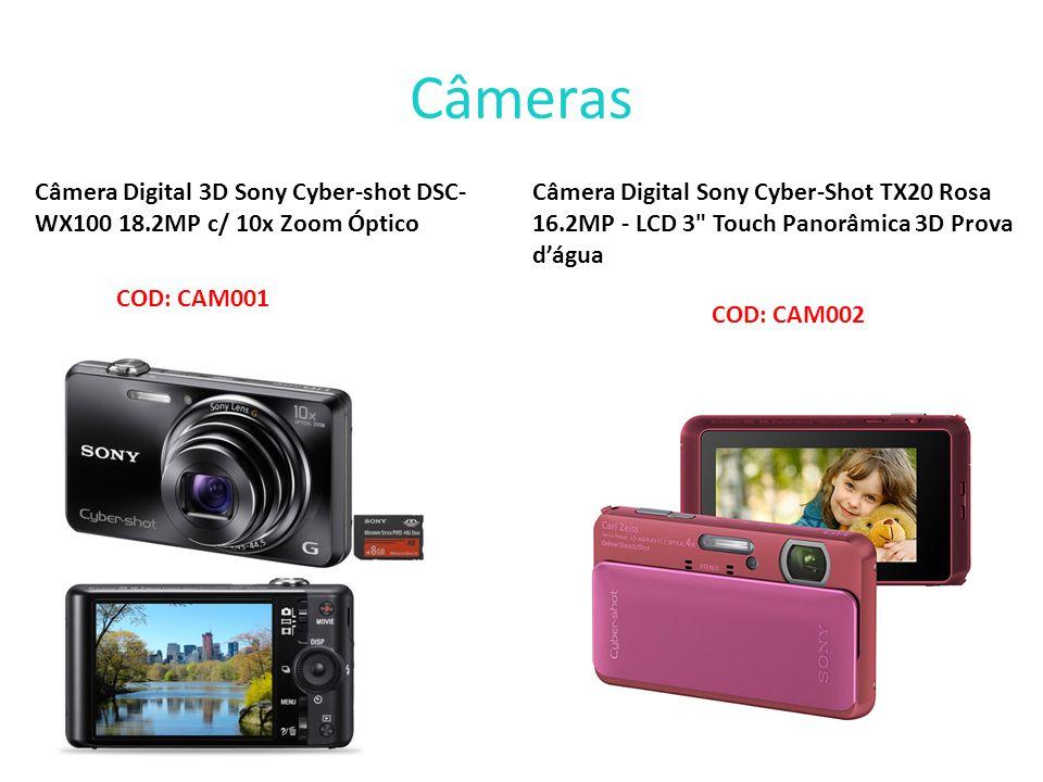 Câmeras Câmera Digital 3D Sony Cyber-shot DSC- WX100 18.2MP c/ 10x Zoom Óptico Câmera Digital Sony Cyber-Shot TX20 Rosa 16.2MP - LCD 3