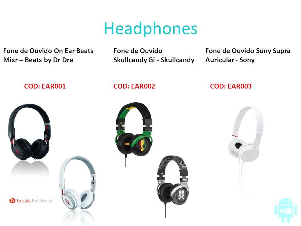 Earphones Fone de Ouvido Ink´D Rasta - Skullcandy COD: EAR001 E nas cores: Fone de Ouvido Intra Auricular Branco - Sony COD: EAR002 E nas cores: Fone de Ouvido com Controle e Microfone - Apple COD: EAR003