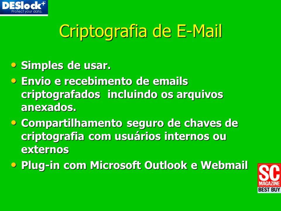 Criptografia de E-Mail Simples de usar. Simples de usar. Envio e recebimento de emails criptografados incluindo os arquivos anexados. Envio e recebime