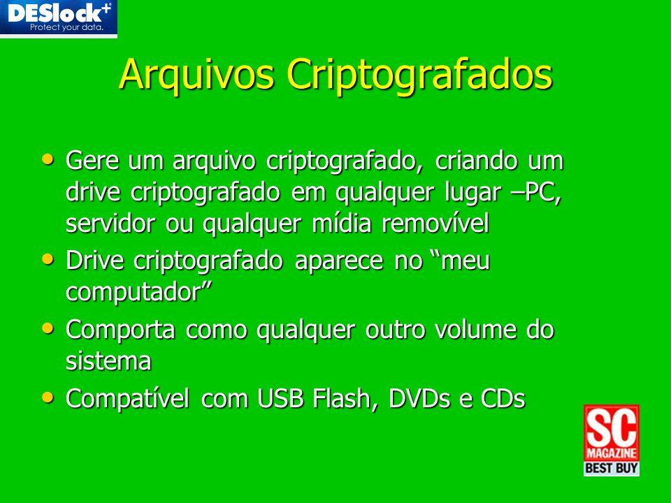 Arquivos Criptografados Gere um arquivo criptografado, criando um drive criptografado em qualquer lugar –PC, servidor ou qualquer mídia removível Gere
