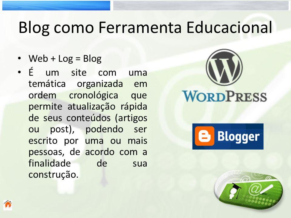 Blog como Ferramenta Educacional Web + Log = Blog É um site com uma temática organizada em ordem cronológica que permite atualização rápida de seus co