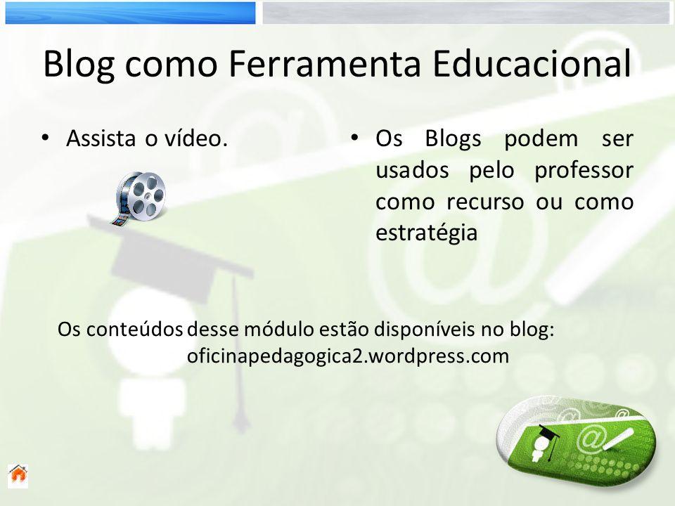 Blog como Ferramenta Educacional Assista o vídeo. Os Blogs podem ser usados pelo professor como recurso ou como estratégia Os conteúdos desse módulo e