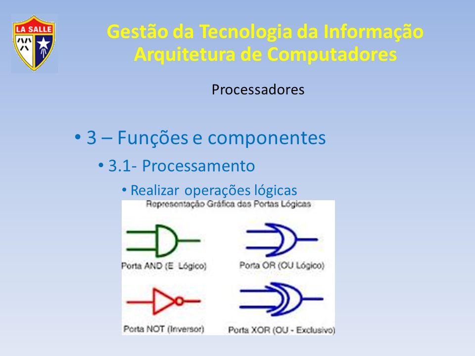 Gestão da Tecnologia da Informação Arquitetura de Computadores Processadores 3 – Funções e componentes 3.1- Processamento Realizar operações lógicas