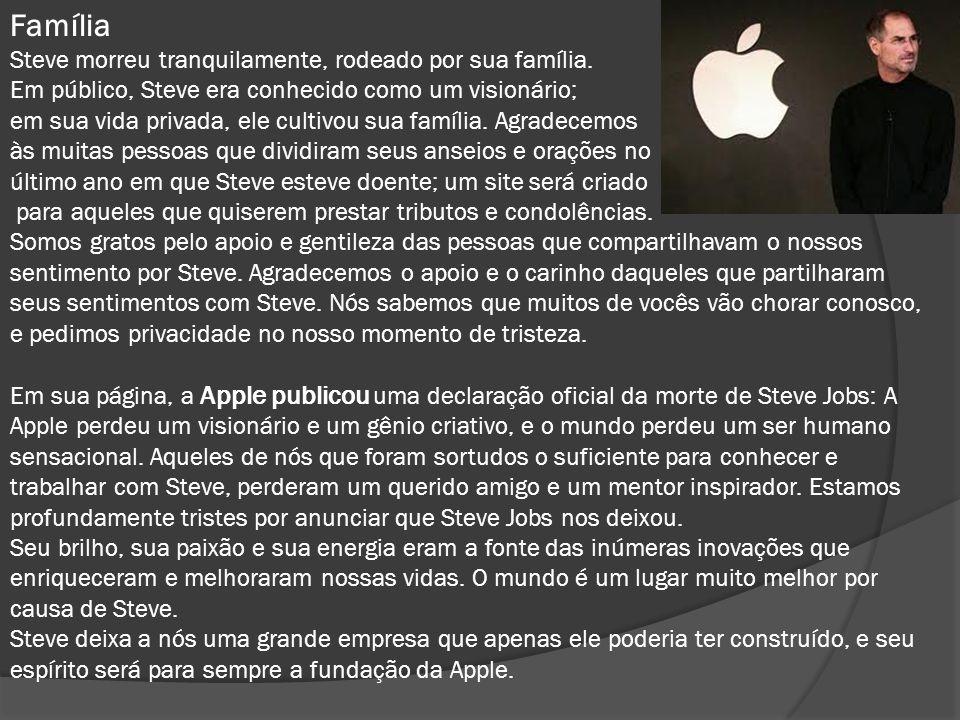 Família Steve morreu tranquilamente, rodeado por sua família. Em público, Steve era conhecido como um visionário; em sua vida privada, ele cultivou su