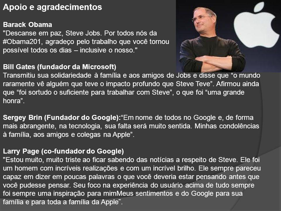 Mark Zuckerberg: Steve, obrigado por ter sido um mentor e um amigo.