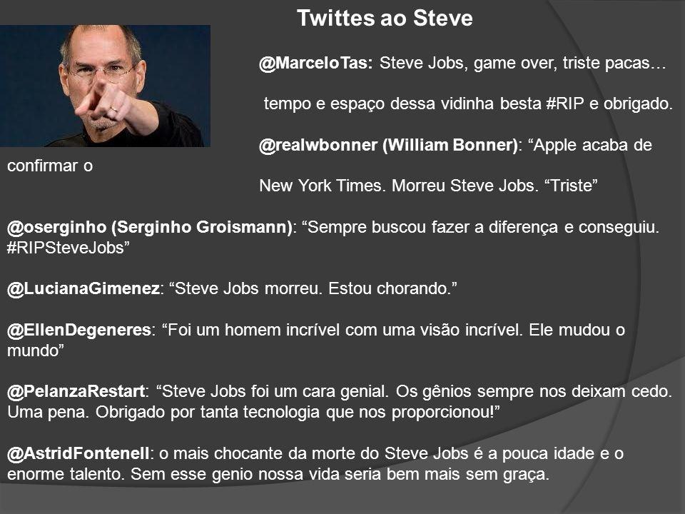 Twittes ao Steve @MarceloTas: Steve Jobs, game over, triste pacas… Gênio além do tempo e espaço dessa vidinha besta #RIP e obrigado. @realwbonner (Wil