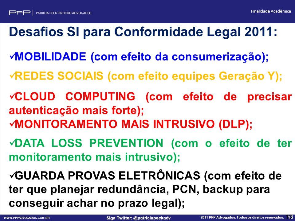 WWW.PPPADVOGADOS.COM.BR 2011 PPP Advogados. Todos os direitos reservados. 13 Siga Twitter: @patriciapeckadv Finalidade Acadêmica 13 Desafios SI para C