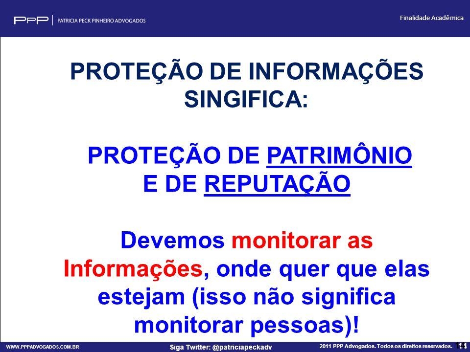 WWW.PPPADVOGADOS.COM.BR 2011 PPP Advogados. Todos os direitos reservados. 14 Siga Twitter: @patriciapeckadv Finalidade Acadêmica 14 PROTEÇÃO DE INFORM