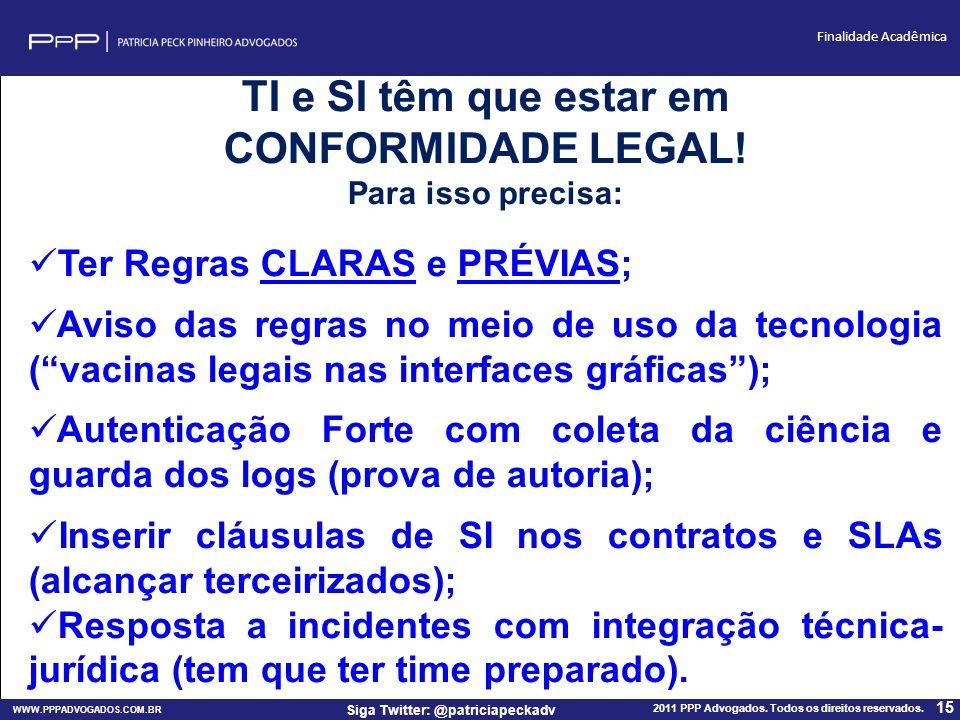 WWW.PPPADVOGADOS.COM.BR 2011 PPP Advogados. Todos os direitos reservados. 15 Siga Twitter: @patriciapeckadv Finalidade Acadêmica TI e SI têm que estar